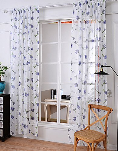 Cheap ASide BSide Countryside Style Lavender Pattern Print Sheer Curtain Rod Pockets Transparent Voile Draperies Breathable Panel For Living Room Dining Room and Kid Room (1 Panel, W52 x L104 inch, White)
