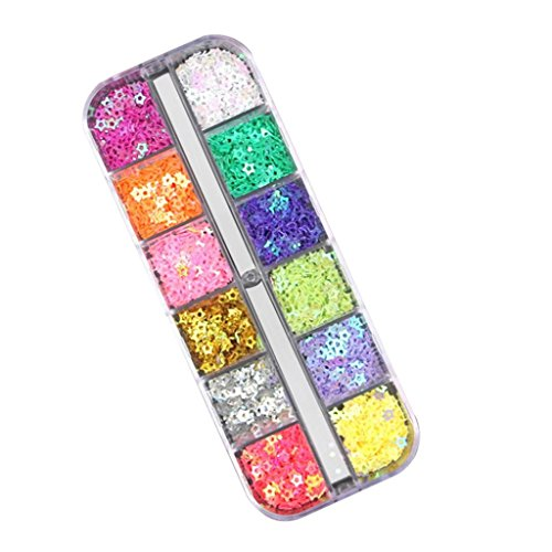 DEESEENail Art12 Pcs Colors Nail Art Tips Stickers 3D Glitte