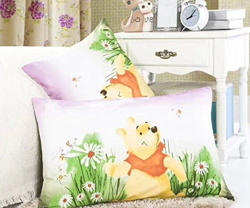 Cotton Winnie The Pooh Sheets (Ln 2 Piece Kids Cute Purple White Yellow Winnie the Pooh Pillowcases Set, Disney Wini Bear Pillow Case Green Flowers Fun Childrens Classic, Cotton)