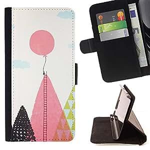 For Apple (4.7 inches!!!) iPhone 6 / 6S Case , Globo Escalera Esperanza Inspiring Rosa Polígono- la tarjeta de Crédito Slots PU Funda de cuero Monedero caso cubierta de piel