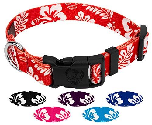 Hawaiian Dog Collar Collars - Country Brook Petz | Deluxe Hawaiian Dog Collar (Red, Medium)