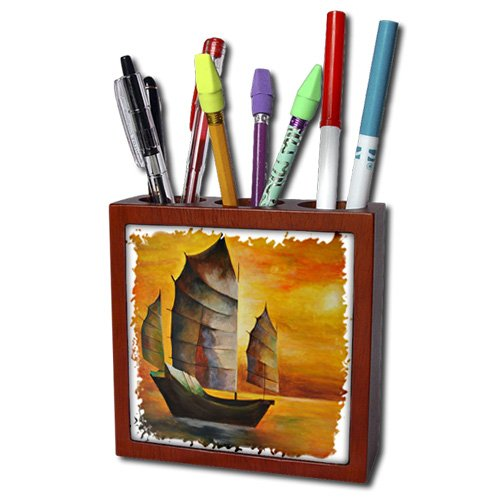 ph_63141_1 Taiche - Acrylic Painting - Sail Boat - Chinese Junk - sail boat, acrylic painting, sails, decorative, seascape, cubism, sailors, nautical - Tile Pen Holders-5 inch tile pen holder