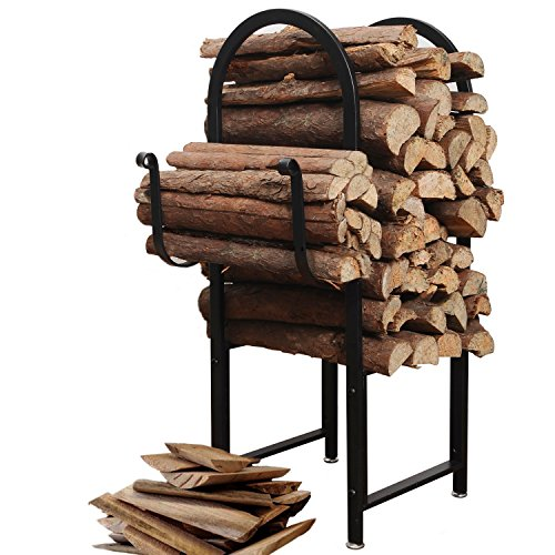Designs Firewood Rack (Black Powder Coated Metal Arch Design Indoor or Outdoor Firewood Log Rack w/ Kindling Holder - MyGift)