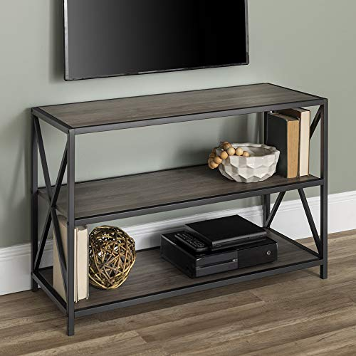 WE Furniture AZS40XMWSG Bookcase, 40 , Slate Grey Black Metal