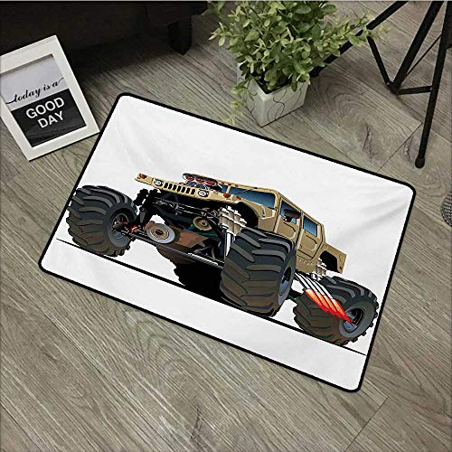 Bathroom Anti-Slip Door mat W24 x L35 INCH Cars,Extremely Large Giant Monster Pickup Truck with Huge with Oversized Tires Race Illustration,Multi Easy to Clean, Easy to fold,Non-Slip Door Mat Carpet