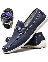 Kit Sapato Mocassim Casual Drive Masculino ZARU GORGEUS + Relógio Luxo