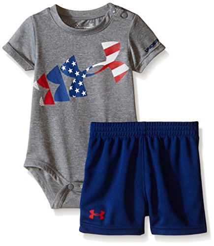 Under Armour Baby American Flag Rising Logo Tee, True Grey Heather, 3-6 Months