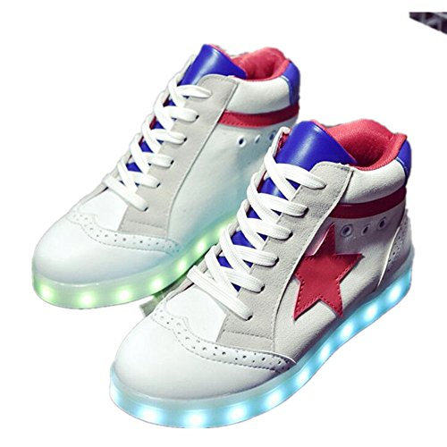 chen yasheng Performances-USB Charging Light Up Shoes High Top Couple LED Shoes Christmas Snow Boots (White-8.5 B(M) US Women/6 D(M) US Men) (Of Christmas Days O12)