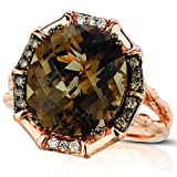 LeVian 6.25 Carat Oval Cut Chocolate Quartz, White & Chocolate Diamond Ring in 14K Rose Gold