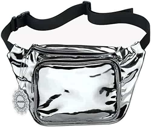 Water Resistant Shiny Neon Fanny Bag for Women Rave Festival Hologram Bum Travel Waist Pack