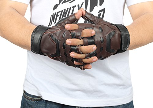 Captain America Real Leather Costume Gloves -