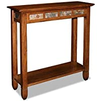 Modern Rustic Oak Narrow Sofa Table Console Hall Stand Rectangle Wooden Brown Finish with Slate Tiles - Includes Modhaus Living Pen
