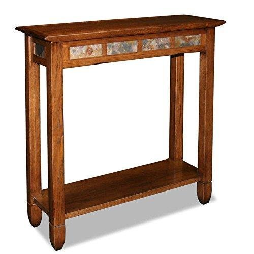 - ModHaus Living Modern Rustic Oak Narrow Sofa Table Console Hall Stand Rectangle Wooden Brown Finish with Slate Tiles - Includes Pen