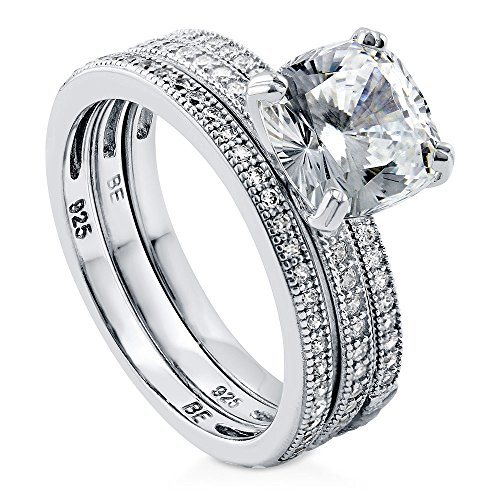 BERRICLE Rhodium Plated Sterling Silver Cushion Cut Cubic Zirconia CZ Solitaire Engagement Wedding Ring Set 3.37 CTW Size 5