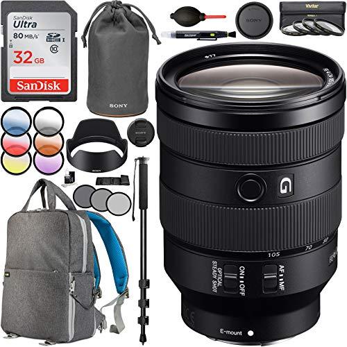(Sony FE 24-105mm F4 G OSS Full-Frame E-Mount Standard Zoom Lens SEL24105G with 67mm Multicoated UV, Polarizer & FLD Filter Kit Photography Backpack Bundle)