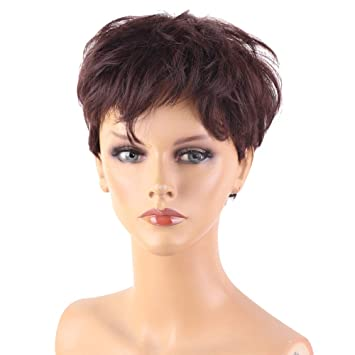 Amazon.com: Queentas Peluca de pelo esponjoso marrón auburn ...