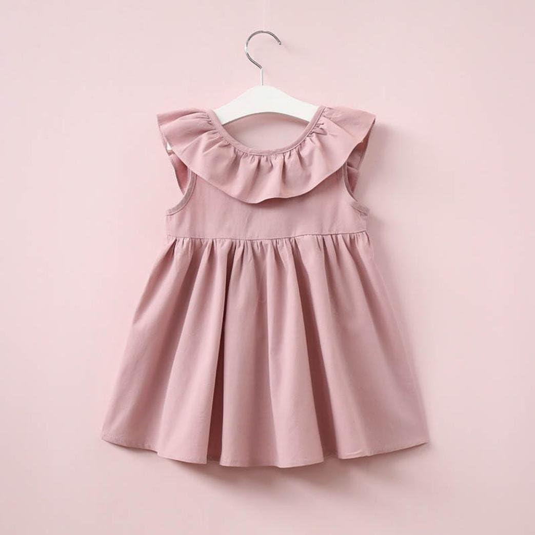 Amlaiworld Robe de Filles Enfants Ruffled Robe Fille Robe Solide /à Dos Robe de Princesse