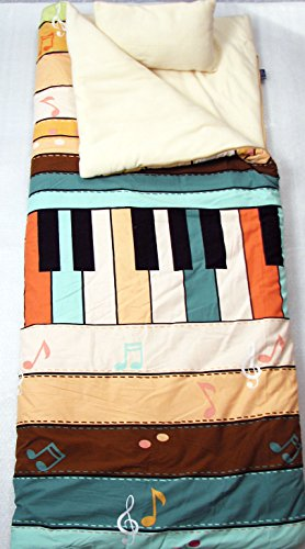 SoHo kids Piano Music Notes children sleeping slumber bag with pillow and carrying case lightweight foldable for sleep over - New In Soho Stores