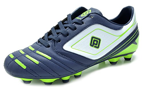 DREAM PAIRS 151028 Men's Sport Flexible Athletic Free Running Light Weight Indoor/Outdoor Lace up Soccer Shoes Navy-WHT-N.Green Size (Indoor Soccer Cleat)