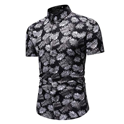 - Trule Casual Shirts Summer Mens Print Shirts Casual Short Sleeve Beach Tops Loose Turn-Down Collar Blouse
