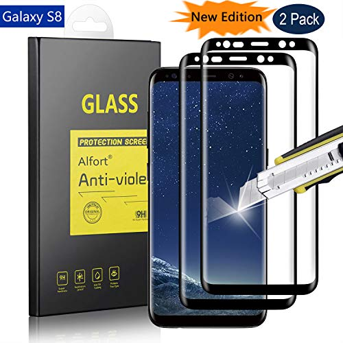 [2 Pack] Samsung Galaxy S8 Screen Protector, Alfort Premium Tempered Glass Screen Protector Film [Full Coverage] 0.26mm 9H Hardness Protective Film for Samsung Galaxy S8 5.8 Smartphone [Black]