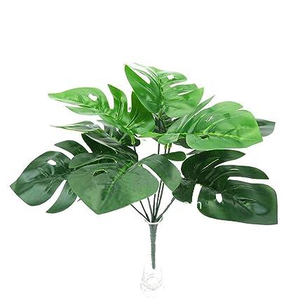 80676f90df4d35 VEVICE Faux Feuilles de Palmier Tropical Bouquet de Feuilles de Tortue  Artificielle Vert Plante décorative