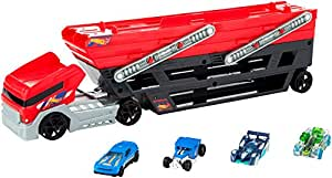 Hot Wheels Mega Hauler and 4 Cars Set, Mega Hauler Truck-4 Cars