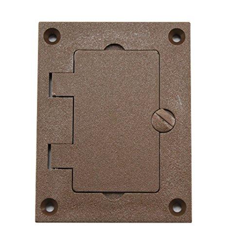 Walker 828PRGFI-BRN Brown GFI Polycarbonate Floor Box Receptacle Cover Plate, Flip Lid 1 Gang - Walker Floor Box
