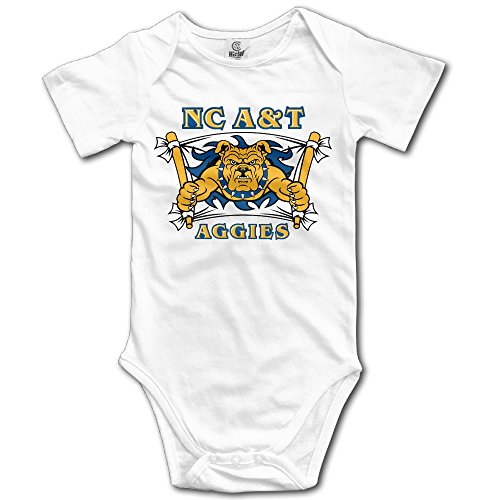 State Aggies Top - WG T Shirts NC North Carolina A&T State University Aggies Toddler Short-Sleeve Romper Tank Tops Size 6 M White