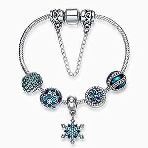 Pandora Style Snowflake Pendant Bracelet Blue Glass Beaded Silver Bracelet Does Not Injure Skin 18cm