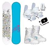 womens 140 snowboard package - Millinium Three M3 Star Snowboard & Symbloic White Bindings & Venus Boots & Leash & Stomp & Burton Decal Package (140cm M3 Star Snowboard, Size 5 Kids Boots & White Bindings)