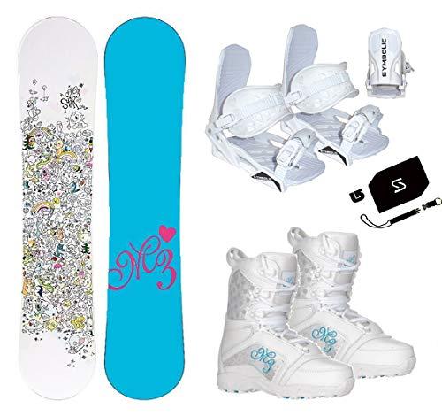 tar Snowboard & Symbloic White Bindings & Venus Boots & Leash & Stomp & Burton Decal Package (140cm M3 Star Snowboard, Size 4 Kids Boots & White Bindings) ()