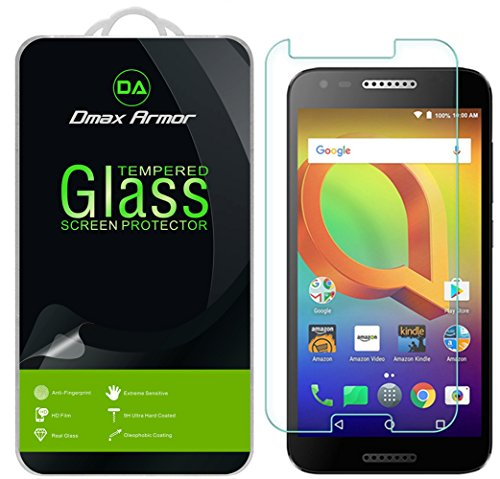 [2-Pack] Dmax Armor for Alcatel A30 Screen Protector, [Tempered Glass] 0.3mm 9H Hardness, Anti-Scratch, Anti-Fingerprint, Bubble Free, Ultra-Clear