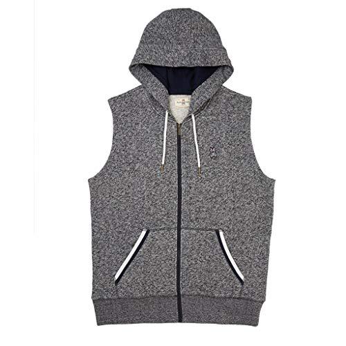 Psycho Bunny Men's Tyne Zip Hoodie Vest Heather Navy Medium