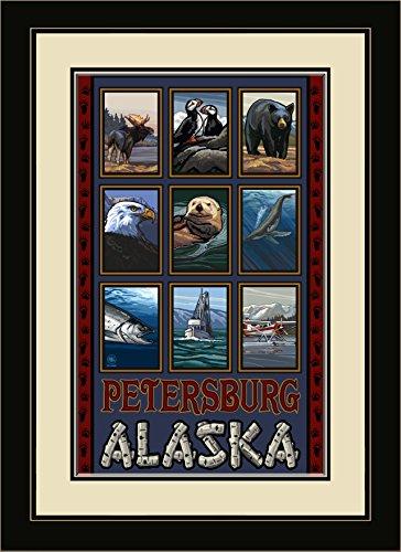 Northwest Art Mall PAL-1005 MFGDM Petersburg Alaska Collage Framed Wall Art by Artist Paul A. Lanquist, 13 by - Petersburg Mall