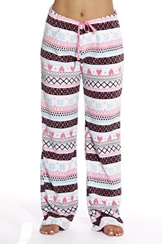 Pajama Heart Fleece Pants (6339-10168-XL Just Love Women's Plush Pajama Pants - Petite to Plus Size Pajamas,White - Heart Fairisle,X-Large)