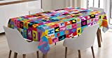 Ambesonne Abstract Tablecloth, Colored Alphabet Letters Pattern Education School Puzzle Children Graphic Print, Dining Room Kitchen Rectangular Table Cover, 52' X 70', Rainbow Colors