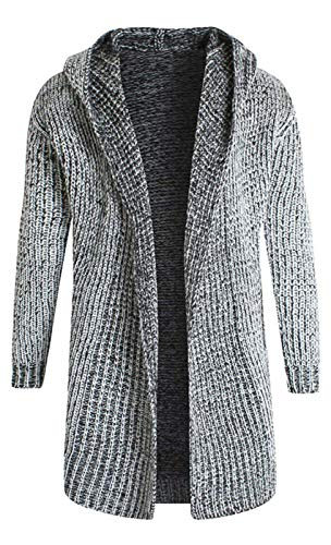 Avec Vintage Tricot Capuche Longue Manteau Sweat Hiver Veste Pull Chaud Hommes Le Grau De Base Épais Huixin Rf8qzw
