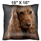 Liili 16x16 Throw Pillow Cover - Decorative Euro Sham Pillow Case Polyester Satin Soft Handmade Pillowcase Couch Sofa Bed Redhead Dog Spaniel on a Gray Background 27883964