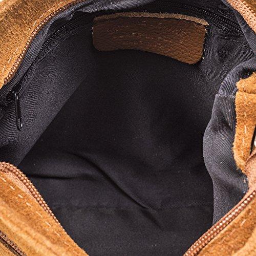 LEATHER Borla MADE Leather decorativa Bolso flecos cuero VERA genuino bandolera PELLE 5 24x20x8 mujer FIRENZE ARTEGIANI Color Bolso ITALIANA cm IN piel de auténtica GAMZUA piel ITALY 7xw64ZF