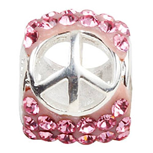 Choruslove Pink Crystal Peace Sign Charm Beads for European (Pink Crystal Peace Sign)