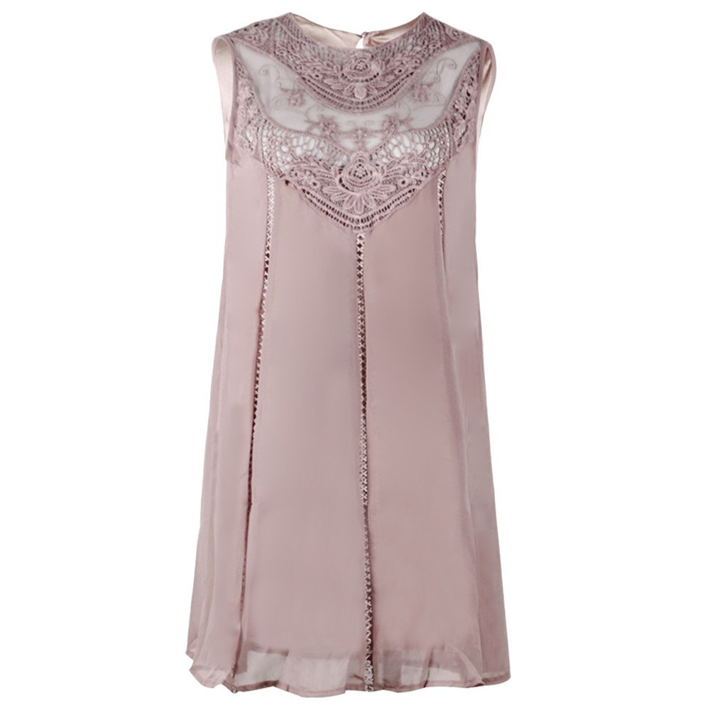 Uscharm Solid Color Lace Dress Womens Casual Stitching O-Neck Sleeveless Chiffon Mini Dress
