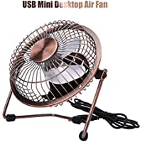 Xutu Mini Desk Fan Powerful Airflow Adjustable and Portable Electric Personal Metal Fan with Switch on/off for Desktop Tabletop Office & Travel, Retro Designed Copper Color