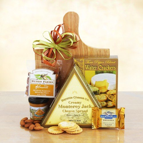 Vegetarian Snack Gift | Cheese Spread, Crackers, Mustard, Almonds, Chocolate, Cutting Board (Send Gift Hamper)
