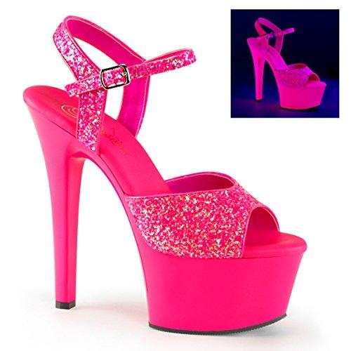 Pleaser Dames Asp609g / S / M Plateau Sandaal Neon Hot Pink Glitter, Roze