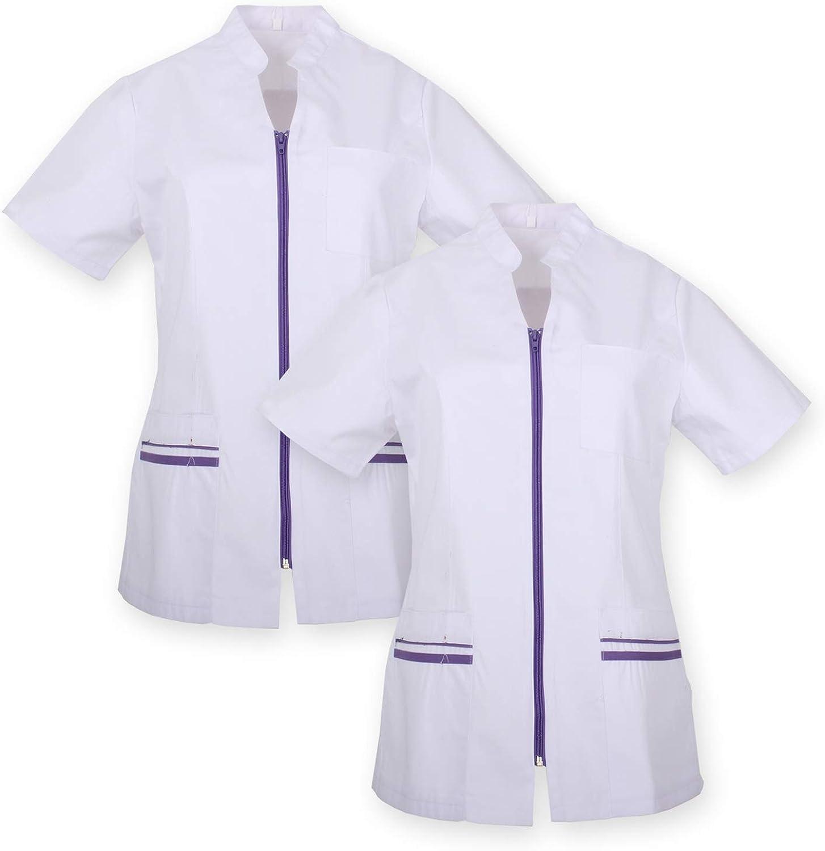 Pack*2 Abbigliamento di Lavoro Signora Maniche Corte Uniforme Clinica Ospedale Pulizia Veterinario IGIENE OSPITALIT/Á Ref.702 MISEMIYA