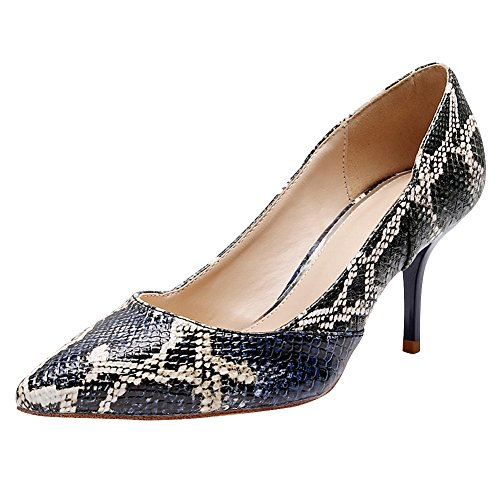 Jamron Women Elegant Pointed Toe Stiletto Heel Work Office Uniform Dress Shoes Sexy Wedding Evening Party Prom Pumps Snakeskin SNE02101 US6.5