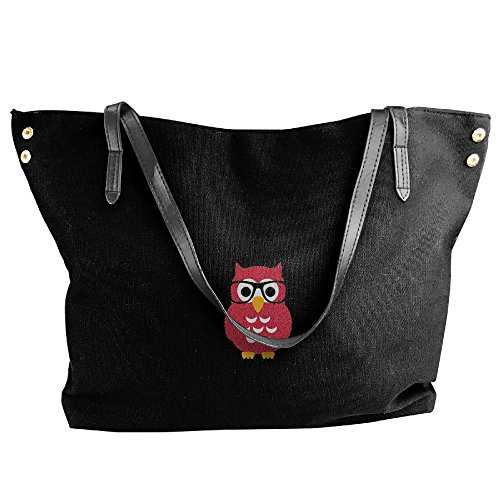 Handbags Hobo Tote Bags Capacity Glasses Women Black Shoulder Large Canvas Black Owl Handbags Fashion Simple Bags zzax0Ig