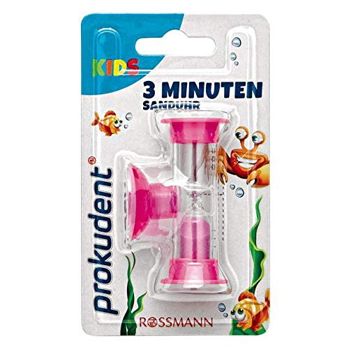 Prokudent Kids 3 Minuten Sanduhr 1 Stück mit Saugnapf zum Anbringen an der Wand erhältlich in versch. Farben - nicht wählbar.