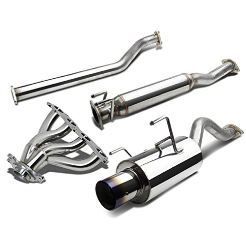 For Acura RSX 4 inches Muffler Burnt Tip Catback+Manifold Header Exhaust System - Non-S DC5 K20A3